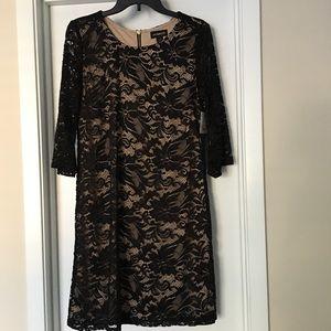 Liz Claiborne Black Nude Lace Dress Size 10